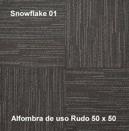 Alfombra Modular Snowflake de uso rudo,marca nuvó, medidas 50x50, color gris